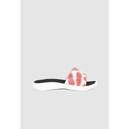 Kook N Keech Women White & Red Pineapple Print Open Toe Flats