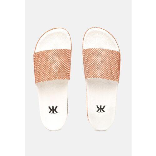 Kook N Keech Women Orange & Silver-Toned Studded Open Toe Flats
