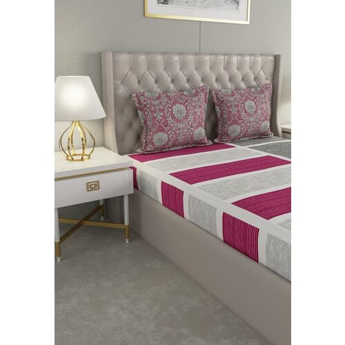 Raymond Home White & Pink Geometric 144 TC Cotton 1 King Bedsheet With 2 Pillow Covers