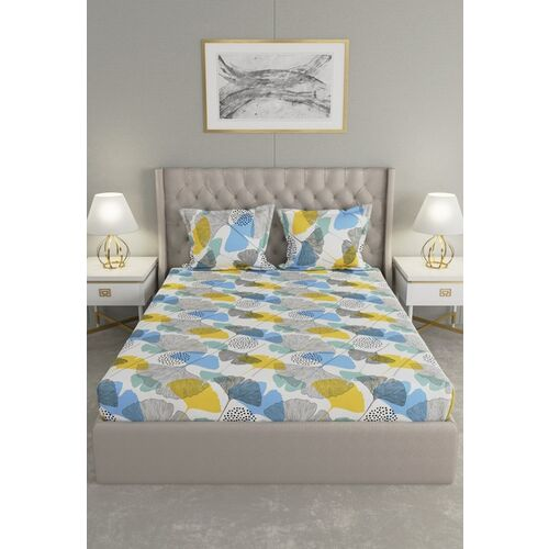 Raymond Home White & Yellow Floral 120 TC Queen Bedsheet with 2 Pillow Covers