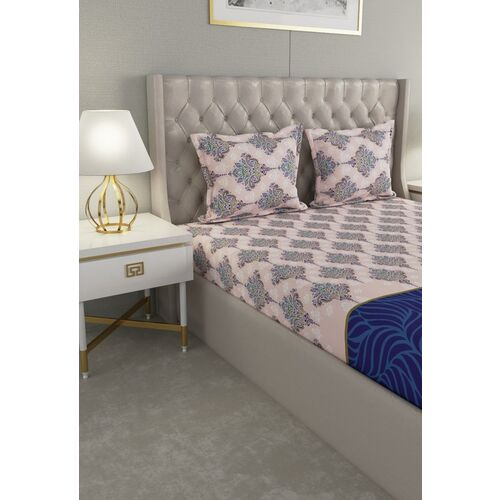 Raymond Home Pink & Blue Printed 104 TC Double Bedsheet With 2 Pillow Covers