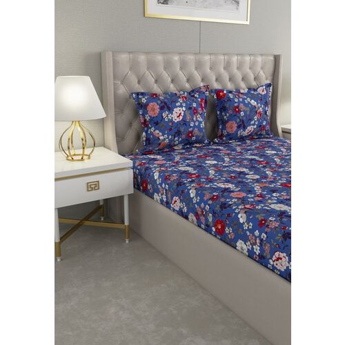 Raymond Home Blue & White Floral 104 TC Cotton 1 Queen Bedsheet with 2 Pillow Covers