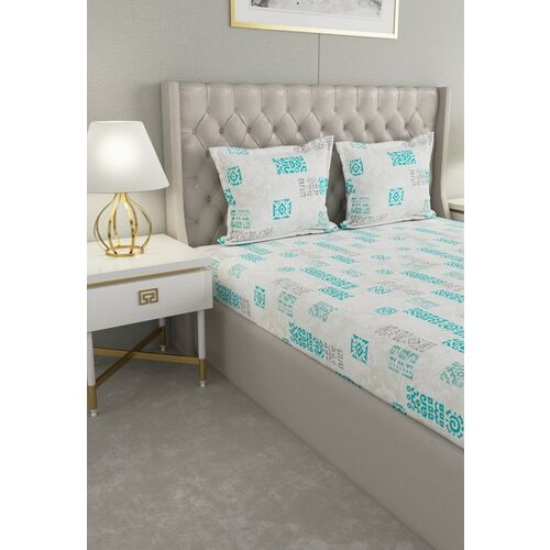 Raymond Home White & Sea Green Graphic 120 TC Cotton 1 Queen Bedsheet with 2 Pillow Covers