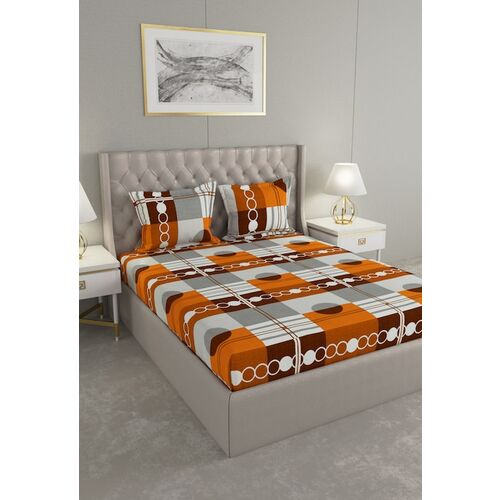 Raymond Home Orange Abstract 104 TC Queen Bedsheet With 2 Pillow Covers