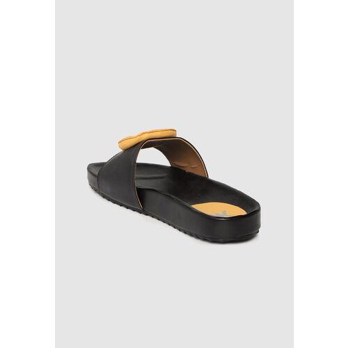 Kook N Keech Women Black & Yellow Applique Detail Open Toe Flats