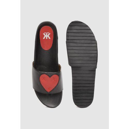 Kook N Keech Women Black & Red Heart-Shaped Open Toe Flats