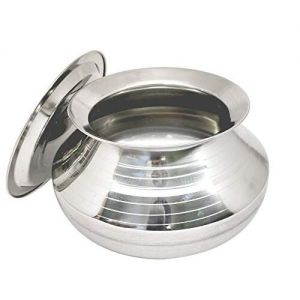 Bartan Hub Small Stainless Steel Handi with Lid ( Pongal Handi, 1000 ML, Dishwasher Safe ) Handi 1 L with Lid (Stainless Steel)