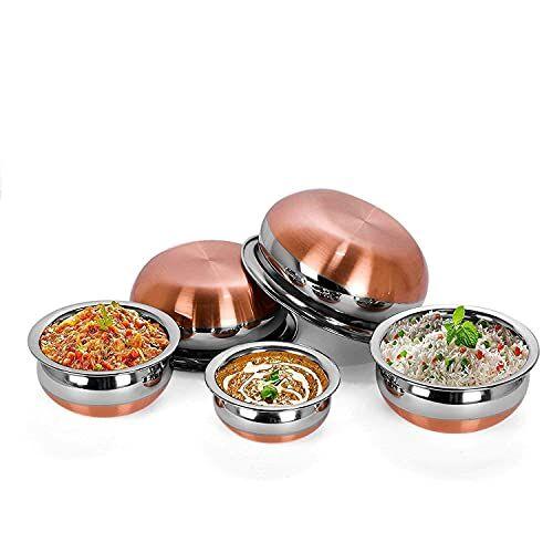 REAVIAN Handi Set Copper Bottom Handi Set/Cookware Set of 5 Pieces Without lid Size: 1.600 L, 1.200 L, 0.850 L, 0.650 L, 0.400 L (Copper, Stainless Steel, Non-Stick)