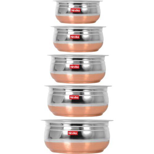 Nirvika Stainless Steel handi Set Copper Bottom Handi/Urli Pot 5 Piece Set/Steel Handi Set 5 Piece Set Handi Handi 0.4 L, 0.65 L, 0.85 L, 1.2 L, 1.6 L