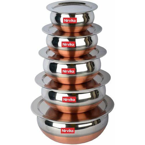 Nirvika copper bottom handi Pot 5 Piece Set/Steel Handi Set 5 Piece Set/Cookware Chetty Combo Set (Stainless Steel, Non-stick, Induction Bottom) Handi 2.1 L,