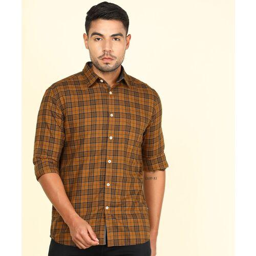 PARX Men Checkered Casual Brown Shirt
