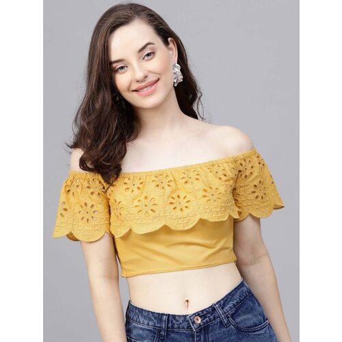 Street 9 Casual Short Sleeve Solid Women Yellow Top