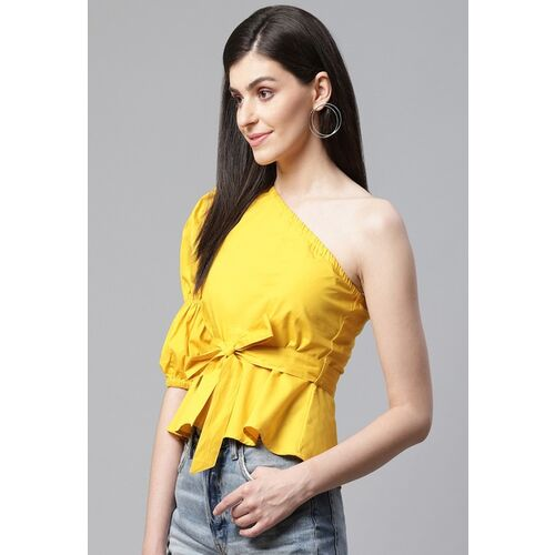 STREET 9 Women Yellow Solid One Shoulder Cinched Waist Top