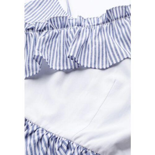 STREET 9 Blue & White Striped One Shoulder Peplum Top