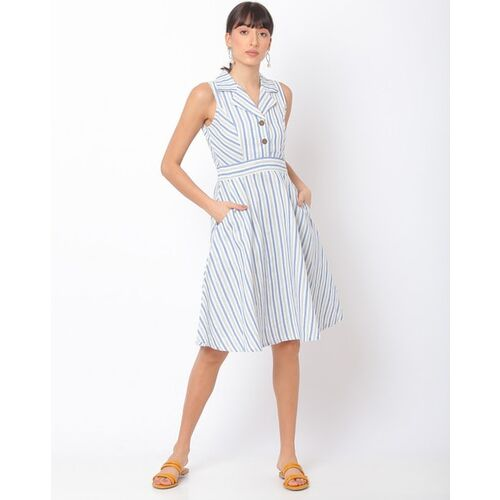 AND Stripes Shirt Dress with Notched Lapel Collar