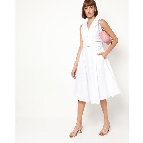 AND Woven Fit & Flare Dress with Lapel Collar