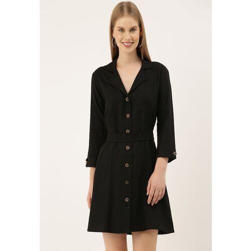 AND Women Black Solid Shirt Dress
