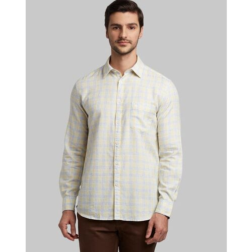 Parx Checked Slim Fit Shirt with Patch Pocket