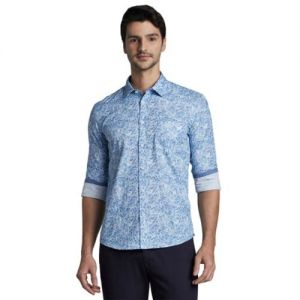 Parx Printed Slim Fit Shirt with Patch Pocket