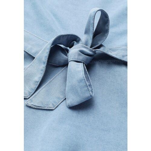 STREET 9 Blue Solid One Shoulder Indigo Pure Cotton Denim Regular Top With Belt