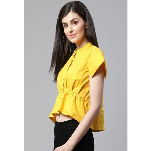 STREET 9 Women Yellow Solid High-Low Top