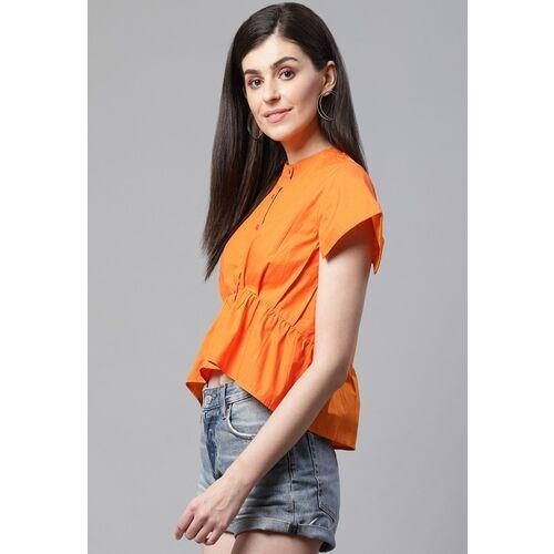 STREET 9 Women Orange Solid High-Low Top