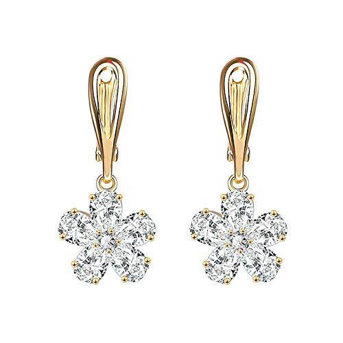 Jewels Galaxy Copper Drop Earrings for Women (Golden) (ERG-1051)