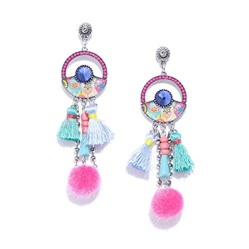 Jewels Galaxy Delicate Design Crystal & Thread Design Gold Plated Fascinating Chain Drop Earrings Jewellery For Women & Girls (FMYN-ERG-35073)