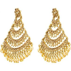 Jewels Galaxy Traditional Gold Plated Beads, Crystal Copper Chandbali Earring