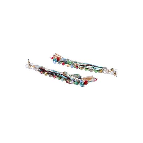 Jewels Galaxy Multicoloured Gold-Plated Stone-Studded Handcrafted Drop Earrings
