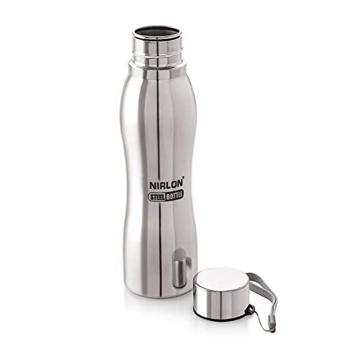 Nirlon Stainless Steel Water Bottle for Gifting and Highly Durable Easy to Clean Stainless Steel Water Bottle 1000 ml Pack of 2
