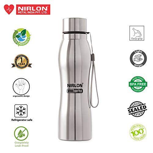 NIRLON Unbreakable Stainless Steel Leak Proof Fridge Water Bottle1000ML (Pack of 06)