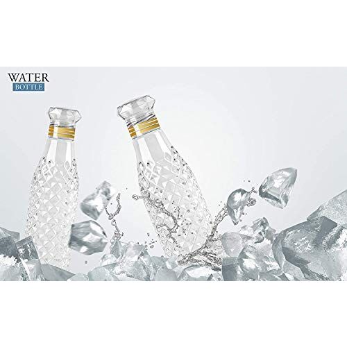 CPENSUS Water Bottle 1 liter, Plastic Fridge Water Bottle Set for Office, Sports, School, Travelling, Gym, Yoga - BPA and Leak Free & Unbreakable Bottle, Diamond Pattern