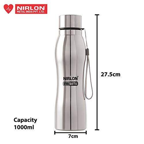 Groove NIRLON stainless steel water Bottle, 1000 ml, Set of 5, Silver