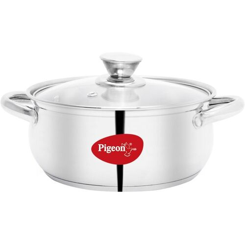 Pigeon Special Stainless Steel Belly Casserole 20cm with Glass Lid Cook and Serve Casserole(2 L)