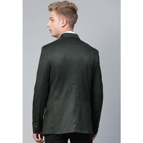 MANQ Men Green Twill Weave Slim Fit Solid Tuxedo Blazer With Pocket Square