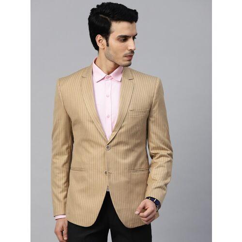 MANQ Striped Single Breasted Formal, Casual Men Blazer(Gold, White)