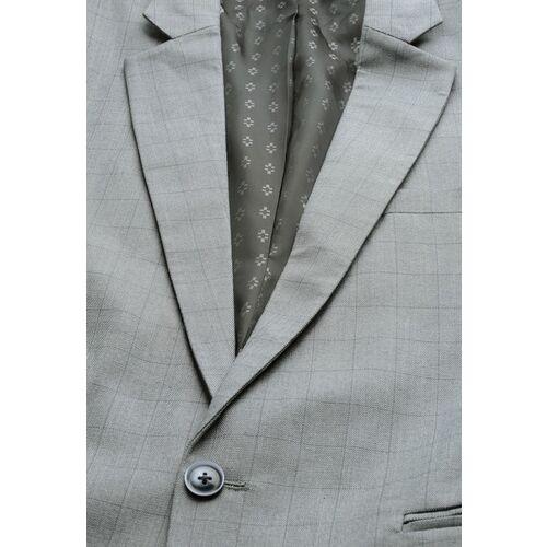 MANQ Men Grey Checked Single-Breasted Slim Fit Formal Blazer