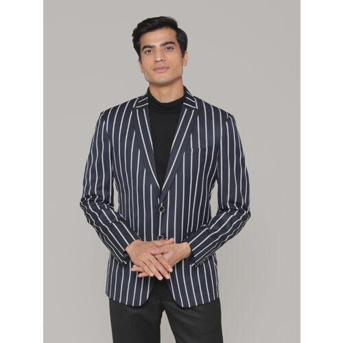 MANQ Striped Single Breasted Formal, Casual Men Blazer(White, Blue)