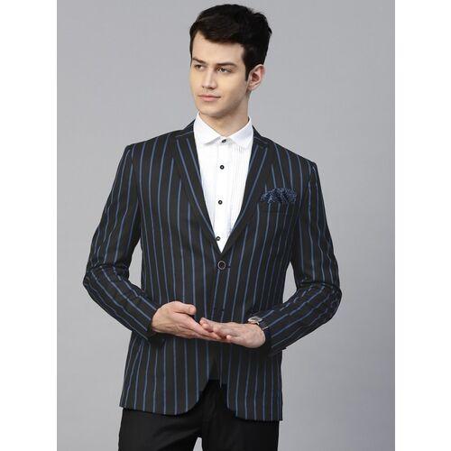 MANQ Striped Single Breasted Formal, Casual Men Blazer(Blue, Black)