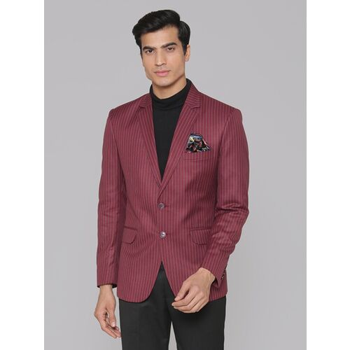 MANQ Striped Single Breasted Formal, Casual Men Blazer(Red, Blue)
