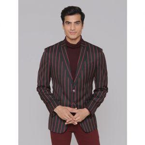 MANQ Striped Single Breasted Formal, Casual Men Blazer(Red, Black)
