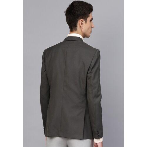 MANQ Grey Solid Slim Fit Single-Breasted Formal Blazer