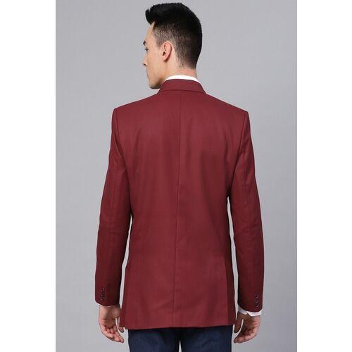 MANQ Men Maroon Slim Fit Solid Single-Breasted Smart Casual Blazer