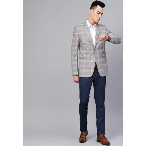 MANQ Men Grey & Black Slim Fit Checked Single-Breasted Smart Casual Blazer
