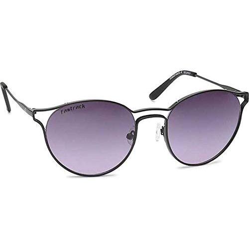 Fastrack Women's Round Sunglasses (Black Frame, Black Lens) (Medium)
