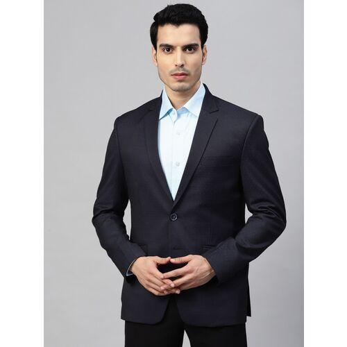 MANQ Self Design Single Breasted Formal Men Blazer(Blue)