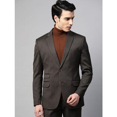 MANQ Striped Single Breasted Formal Men Blazer(Brown)