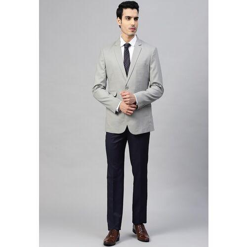 MANQ Men Grey Self-Design Slim-Fit Single-Breasted Blazer