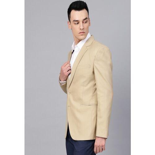 MANQ Men Beige Slim Fit Solid Single-Breasted Formal Blazer